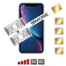 iPhone XR Cuádruple doble Multi SIM adaptador 3G - 4G Speed X-Four XR para iPhone XR
