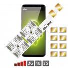Óctuple Multi Doble SIM Adaptador Android para mòviles con híbrido slot DUALSIM