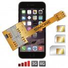 X-Triple 6 Plus Adaptador doble triple tarjeta SIM para iPhone 6 Plus